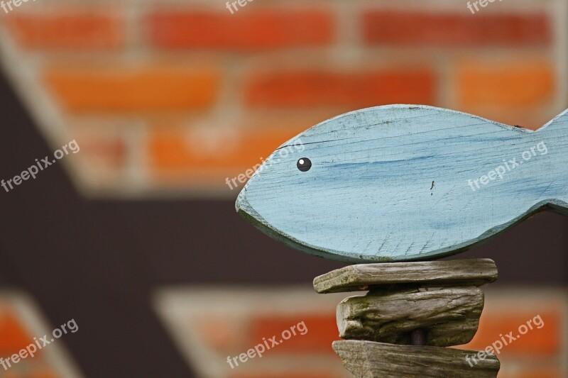 Holzdeko Gartendeko Wood Fish Truss Garden